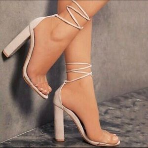 Soft baby pink laced up chunky high heels